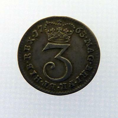 1763 Royal Mint King George III 3d Three pence Coin A