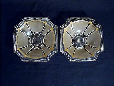 Two (2)  Frosted Pink Octagon Rim Soup Cereal Dessert Bowls  Made In France