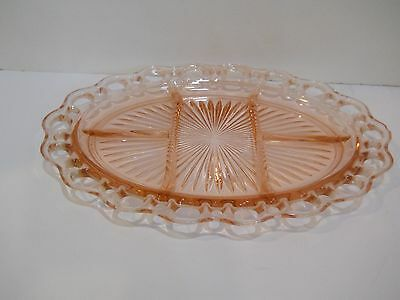 Old Colony Open Lace PINK DEPRESSION GLASS DIVIDED OVAL RELISH TRAY PLATTER