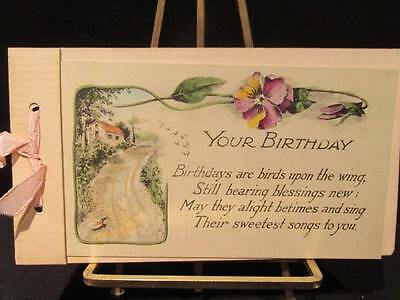 Gibson Lines 1912 Your Birthday Greeting Card with pink ribbon & pansies