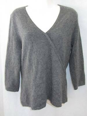 Daniel Bishop 100% Cashmere Gray 3/4 sleeve sweater with mock crossover M