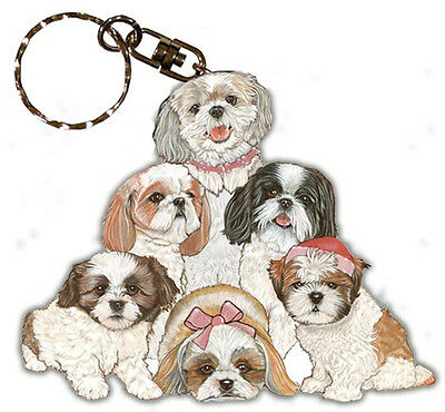 Shih Tzu Keychain Wooden Key Ring