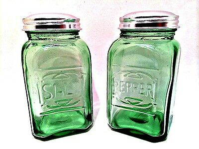Classic Green Salt & Pepper Shakers Retro Depression Glass Set Metal Lids 4.5""