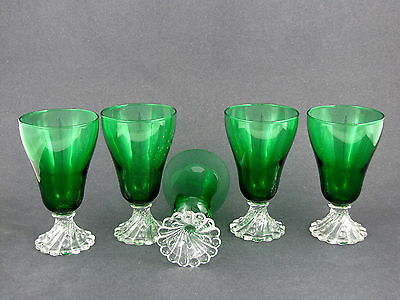 """5 ANCHOR HOCKING FOREST GREEN INSPIRATION WINE STEMS, 5"""" tall"""