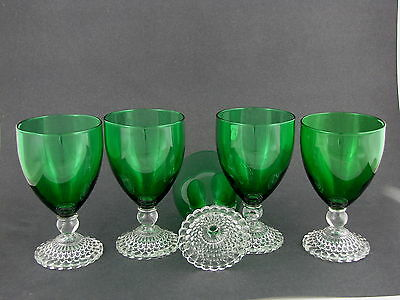 """5 ANCHOR HOCKING FOREST GREEN EARLY AMERICAN GOBLETS, 10 oz, 5 1/2"""" tall"""