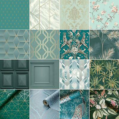 Fine Décor Teal Duck Egg Wallpaper – Shabby Chic – Owl, Peacock, Scroll ,tree