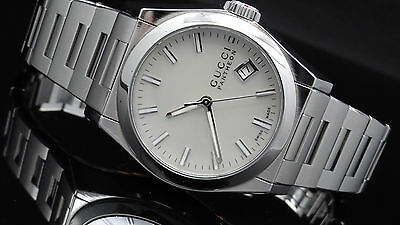 dbd47156ad2 Gucci Medium 115.4 Mother of Pearl Dial Pantheon Date Silver Tone Date Watch