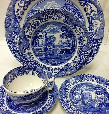 """Spode """"blue Italian"""" 5 Piece Place Setting Stoneware New In Box Made In England"""