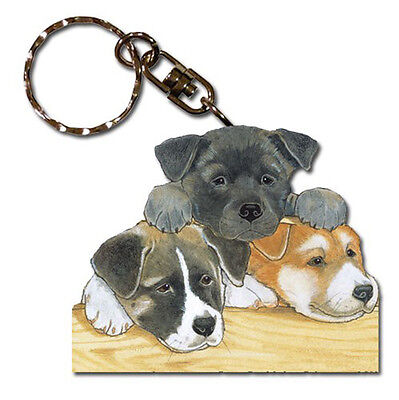 Akita Wooden Dog Breed Keychain Key Ring