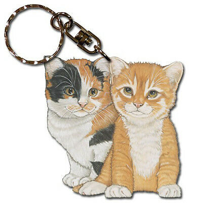 Cats Wooden Keychain Key Ring