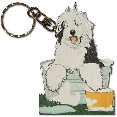 Old English Sheepdog Wooden Keychain