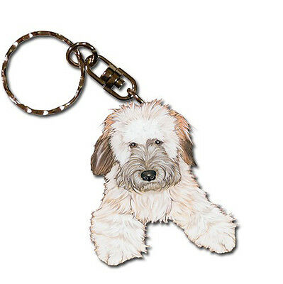 Soft Coated Wheaten Wooden Dog Breed Keychain Key Ring