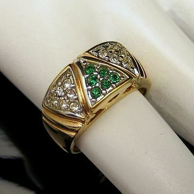 Gold Plated Wide Band Green Rhinestones Pinky Ring Vintage UNISEX Unique