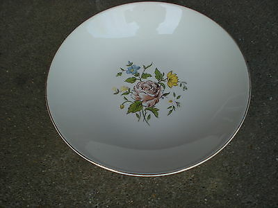 """Vintage Edwin Knowles Brown Rose Floral 7 3/4"""" Soup Bowl  Flowers USA"""