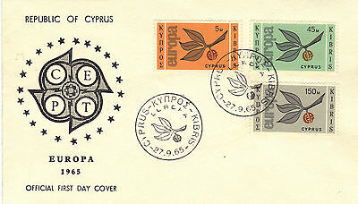 1965 Cyprus EUROPA Stamps Set 3v SG267-269 First Day Cover REF:175