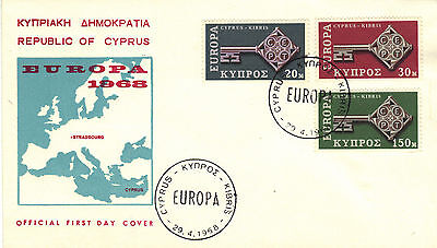 1968 CYPRUS  EUROPA Stamps Set 3v SG319-321 First Day Cover REF:183