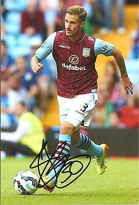 A 7 x 5 inch photo featuring Joe Bennett at Aston Villa personally signed by him