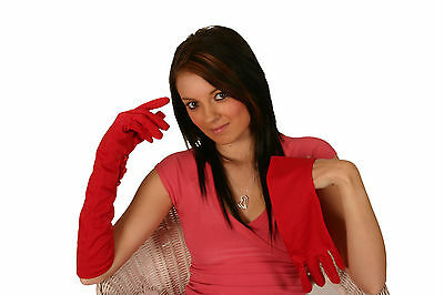 LONG RED  GLOVES SOFT STRETCHY EVENING/FANCY DRESS LARGE (48cm)