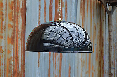 Large 1970's Retro Style Black Gloss Half Ball Ceiling Pendant Light Lamp Shade