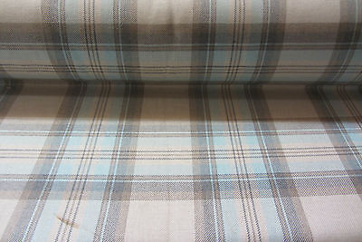 Westport Checked woven Cotton Curtain/Craft Fabric Duckegg