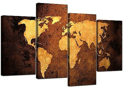 Map of the World Canvas Prints - Vintage - Sepia Brown