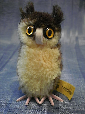 """VINTAGE STEIFF WOOLEN OWL w IDs and PLASTIC FEETS 2.36"""""""
