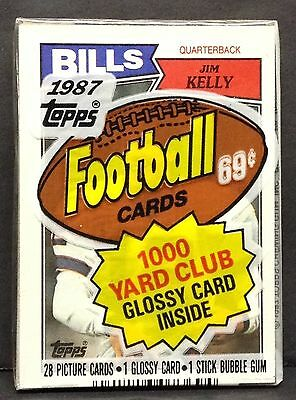 1987 Topps Football Unopened Cello Pack with Jim Kelly Rookie Card on top RC