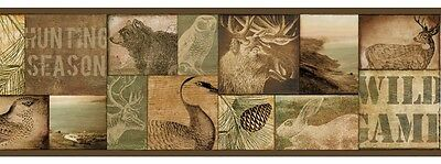 Wild Game Wallpaper Border - 2 Colors Available - Rustic - Lodge - Cabin