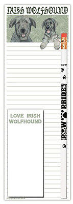 Irish Wolfhound Dog Notepads To Do List Pad Pencil Gift Set