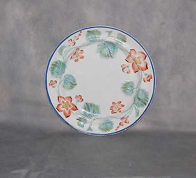 Antique English Pottery Pearlware Pink Flower Green Leaf Blue Rim Dinner Plate