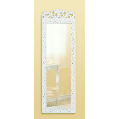 Elegant Weathered Wood Vintage Antique look Shabby White Wall Hanging Mirror