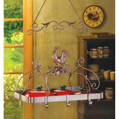 Tuscan Country Rooster Kitchen Pot Rack Pan Holder Hanging Home