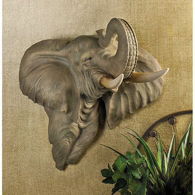 ELEPHANT Head Wall Decor LARGE and Exotic Statue FIGURINE - NEW