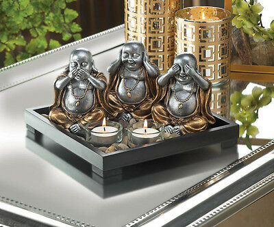Speak No Evil Hear No Evil See No Evil Buddha Statue Candle Rock Garden
