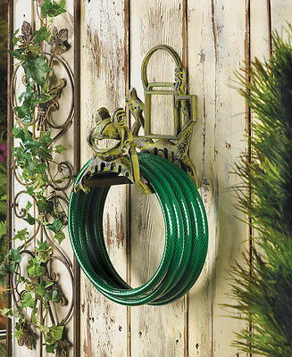 Garden Hose Holder Cast Iron Frog Tangle Free Organize Happy Fun Storage New