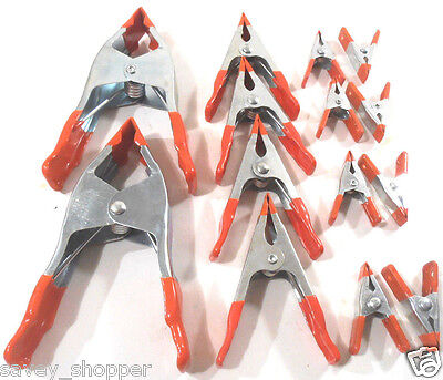 """Lot Of 14 Assorted Metal Spring Clamps 2-6"""",4-4"""",8-2"""""""