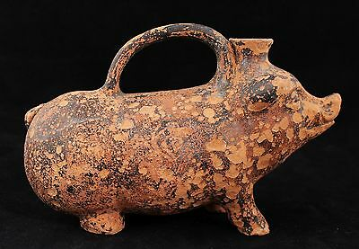 ancient BC, antique terracotta Pig Wild Boar Sicilian rhyton vessel, spouted jar