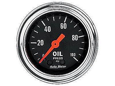 """Auto Meter 2421 Traditional Chrome Oil Pressure Gauge 2-1/16"""" mechanical"""