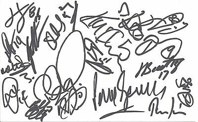 A 20cm x 13cm Plain White Card Signed by 18 Crawley Town players on 29.03.2014.