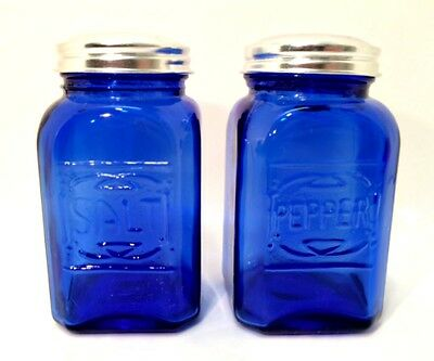 Cobalt Blue Salt & Pepper Shakers Retro Depression Glass Set Metal Lids 4.5""