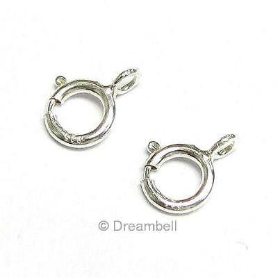 10X Italian Bright .925 STERLING Silver Spring Ring Clasp 5mm