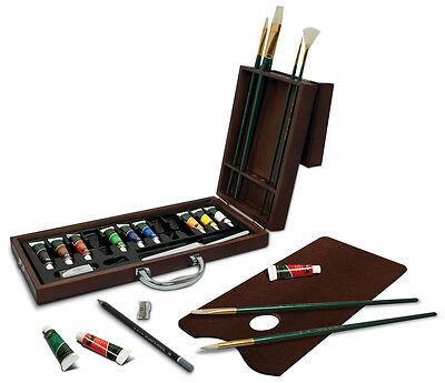 Artist Premier Deluxe Oil Colour Paint & Brushes Wooden Box Travel Set 2020