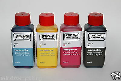 4x 100ml true pigment ink Epson DuraBrite NON OEM OCP Nachfülltinte WorkForce
