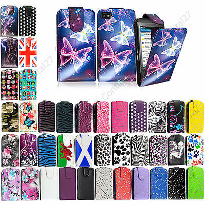 Printed Leather Magnetic Top Flip Pouch Case Cover For Blackberry Mobile Phones