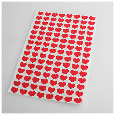 10mm 120 RED HEART SHAPE COLOUR COLORED SELF ADHESIVE STICKER PLASTIC LABEL