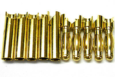C0404x5 RC Connector 4mm 4.0mm Gold Plated Male and Female Bullet Banana x 5 Set