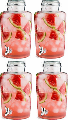 Special Offer 4 x Drinks Dispensers 8 Litre Clip Top Storage Ice Cold Jar Tap