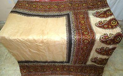Cream Maroon Pure Silk 4 yard Vintage Sari Free Gift Clothing paypal Home #1UN72