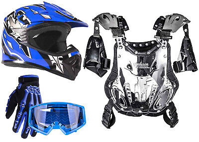 PeeWee Chest Protector DOT Blue Helmet Motocross ATV Youth Gloves Goggles Combo