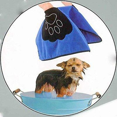 Urban Living Microfiber Blue & Black Pet Towel with Pockets Dog Cat Grooming
